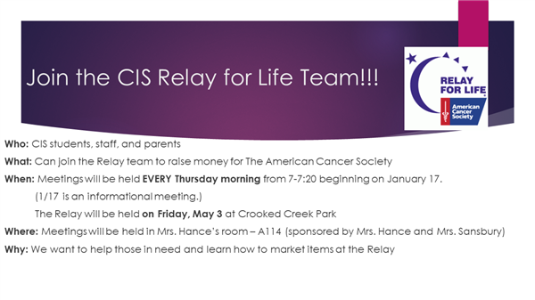 Relay for life team information