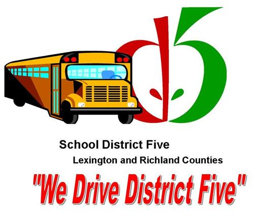 School Bus with D5 Apple - We Drive District Five Logo