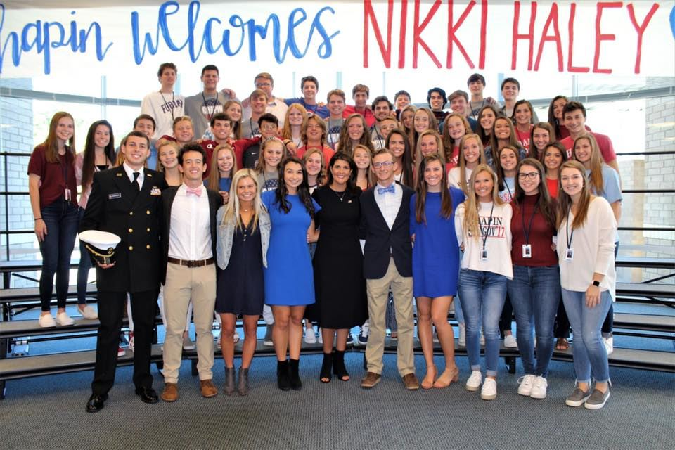 Former U.S. Ambassador Nikki Haley visits School District Five high school