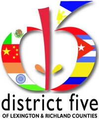 District Five's ESOL Logo (D5 Apple logo with colors changed to various foreign flags to represent different nations we serve