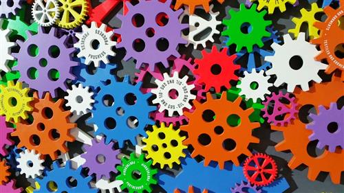 Stock Image of colored gears