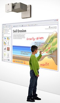 Student Using a SMART LightRaise Interactive Projector