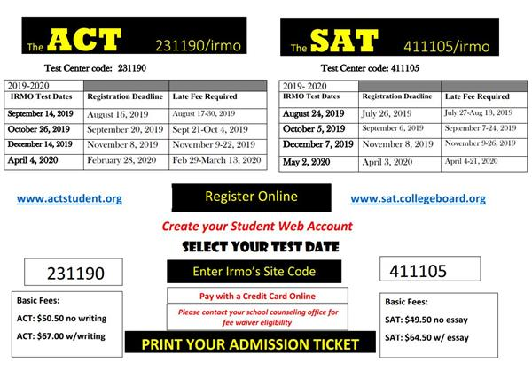 SAT and ACT Test Dates at IHS