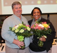 Chris Corley, Support Employee of the Year and Dr. Natasha Gree, Teacher of the Year