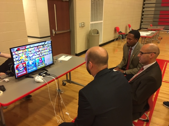 "The Admin Team ""fighting it out"" with the Multimedia Gaming Club"