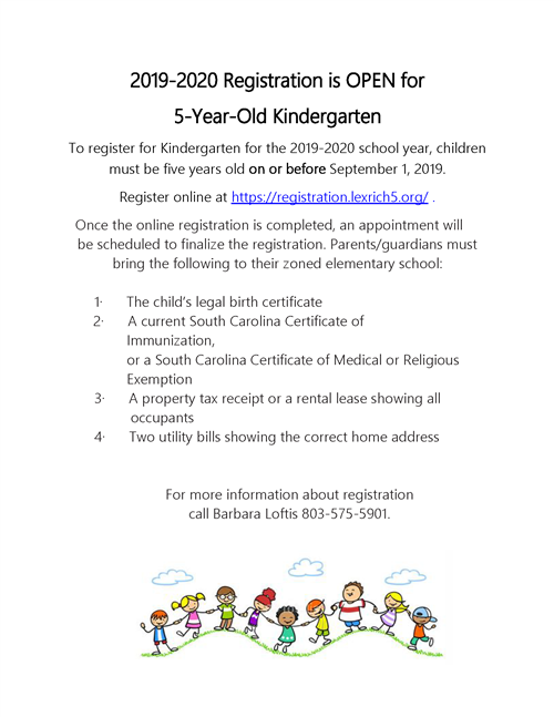 5-Year-Old Kindergarten Registration Begins