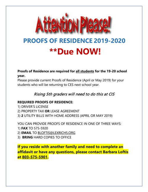 2019-2020 Proofs of Residence DUE NOW!