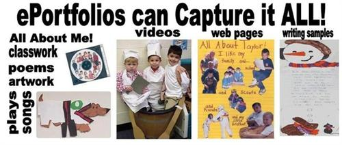 ePortfolios can Capture it ALL!  - 4 pictures showing different documents that eportfolios can capture